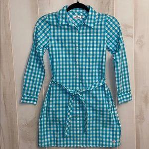 Vineyard Vines girl's dress blue and white checker